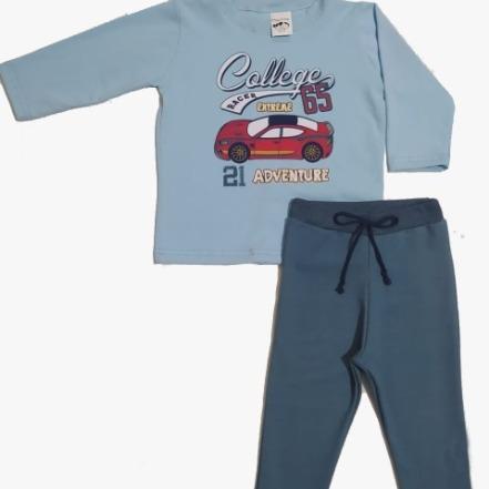 Conjunto Blusa manga longa estampa carro e calça moletinho com cadarço