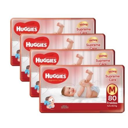 4 pacotes fralda Huggies (com 80 fraldas cada) - frete grátis