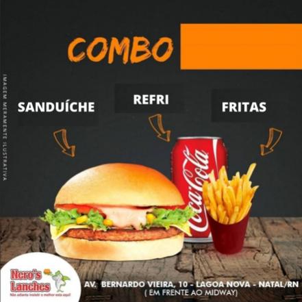 Sanduíche + Batata Frita + Refrigerante em Lata
