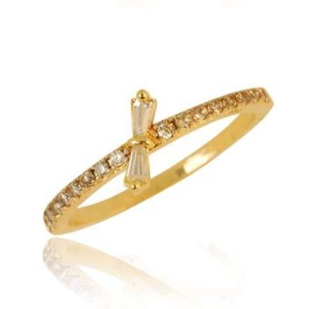 Dia dos Namorados - Anel Mini Laço - semi jóia (Zircônia)