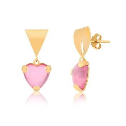 Dia dos Namorados - Brinco + Pingente - Coração Acrilico Rosa - Banhado a Ouro 18k
